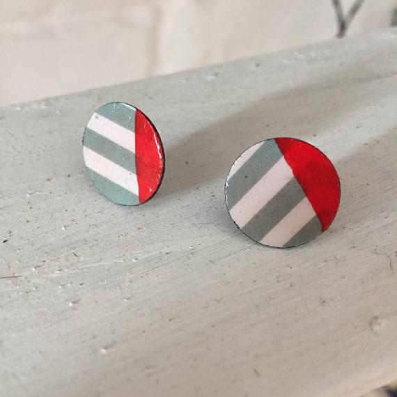 Handmade Round Art Deco Style Earrings